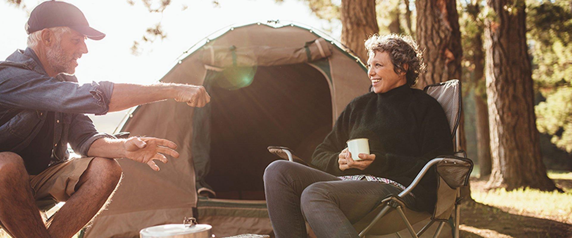 Senior couple camping date